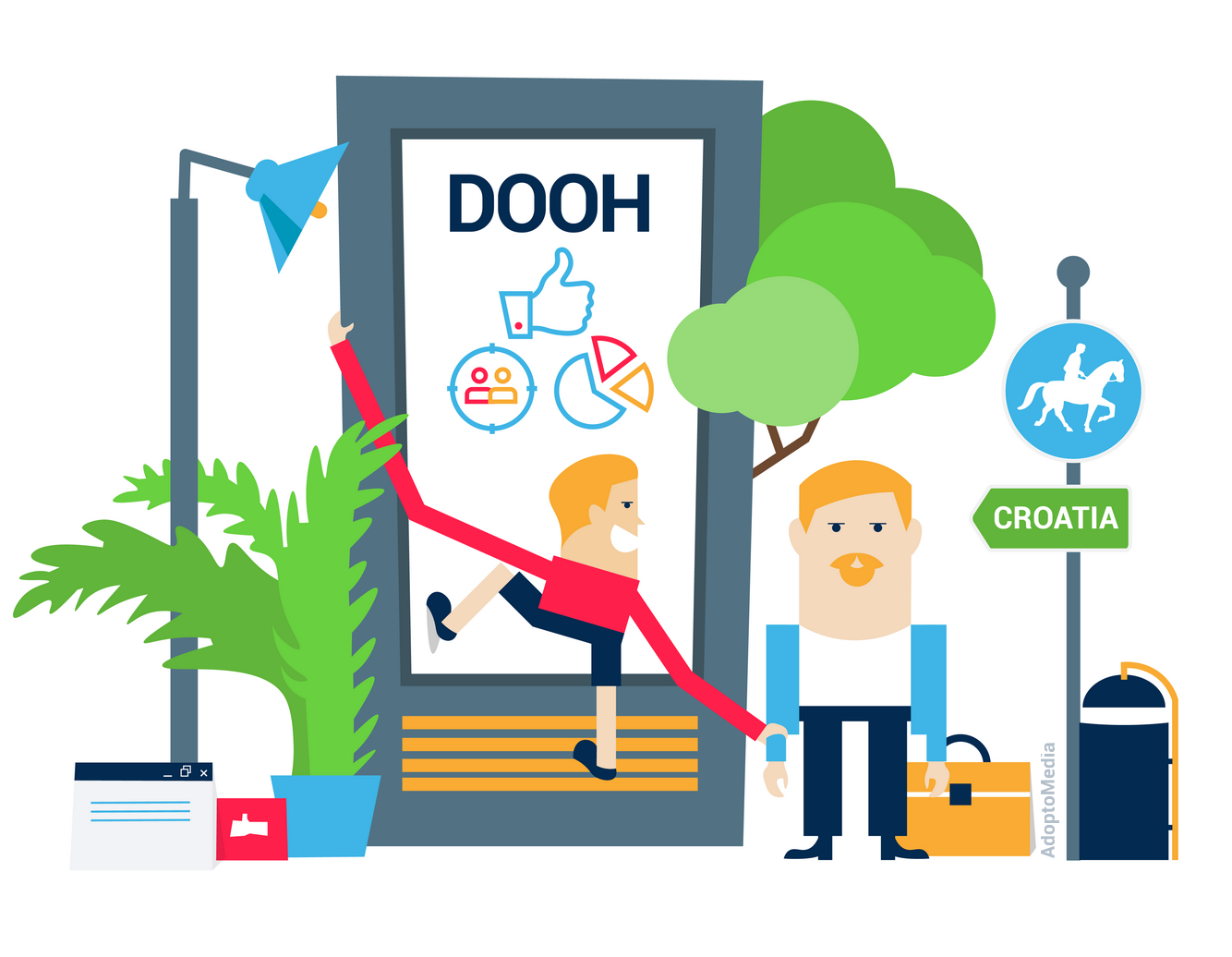 DOOH, digital out-of-home advertising, AdoptoMedia,