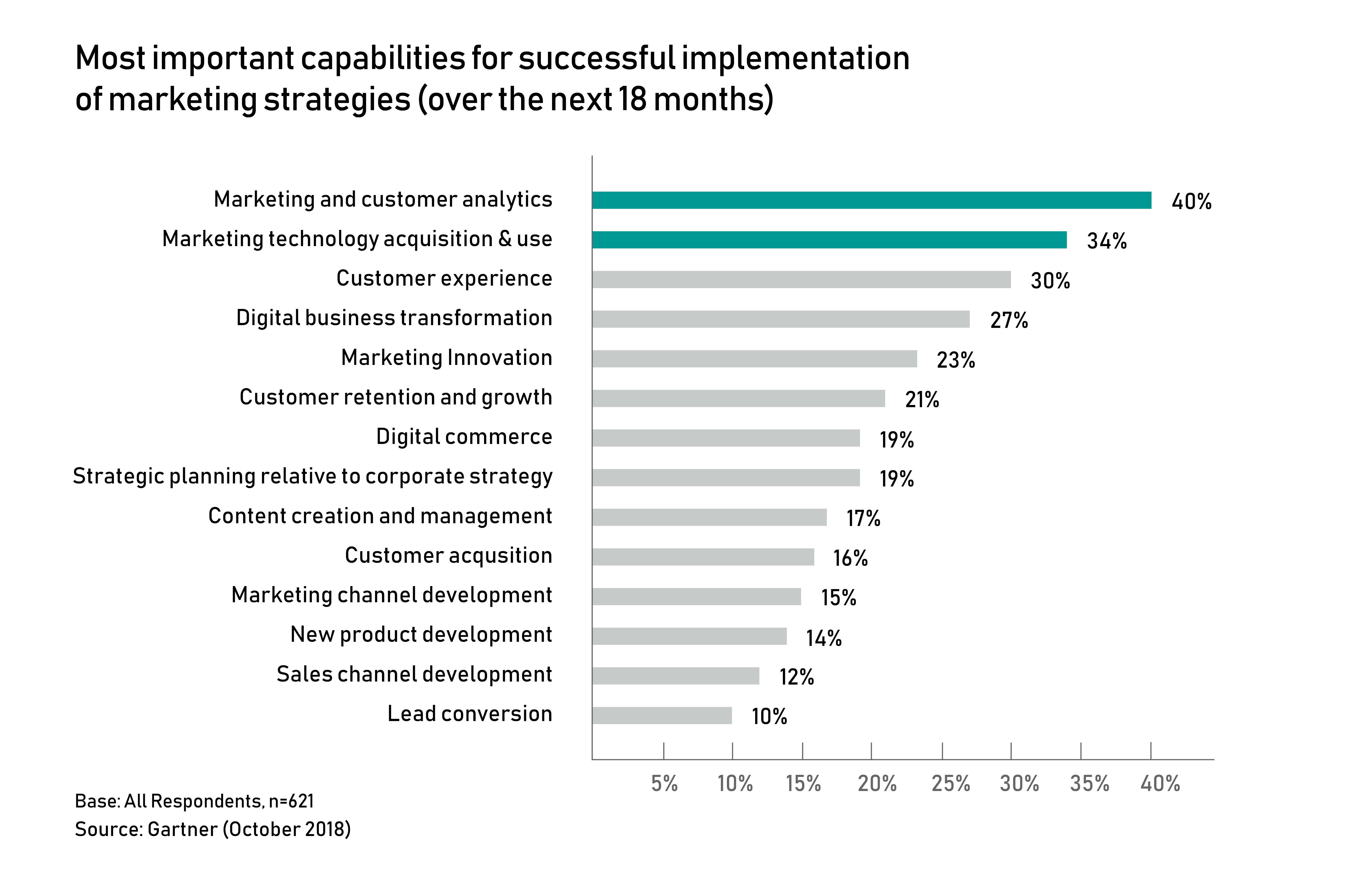 most important marketing capabilities, customer analytics, marketing technology, ROMI optimisation