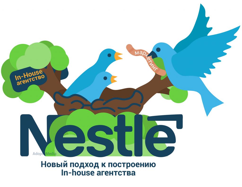 Nestlé, гибридная модель in-house агентства, эффективный маркетинг, AdoptoMedia